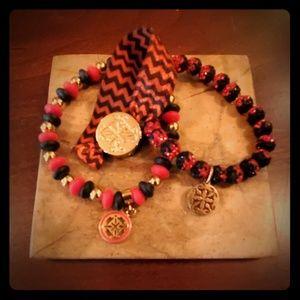 Rustic Cuff - set of 3 Red & Black